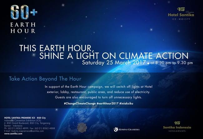 Hotel Santika Premiere ICE – BSD City Peringati Earth Hour 2017