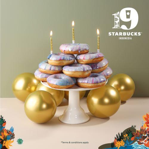 Starbucks 19th Anniv Special Food Tie die doughnut